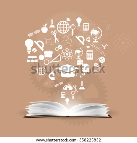 Vector background knowledge from books. - stock vector