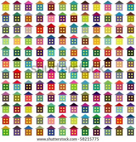 Vector background made of multicolor simple houses - stock vector