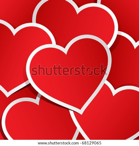 Vector background made of red heart stickers