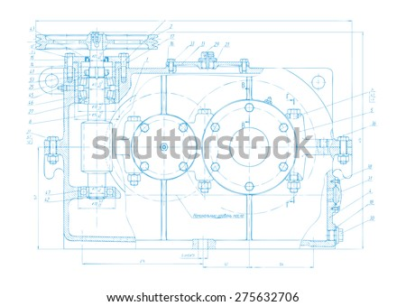 Vector background of abstract engineering drawing. Tech documentation of detail reducer project. Blueprint design - stock vector
