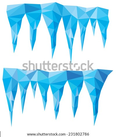 vector background of blue crystal icicles  - stock vector