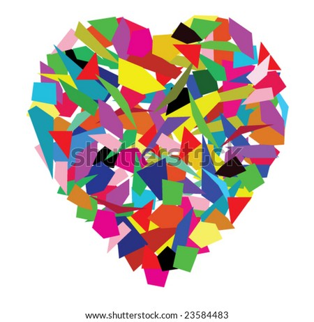 vector background of color splinters in a heart form