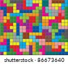vector background of colorful puzzle pieces - stock vector