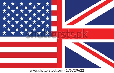 vector background of half us and uk flag