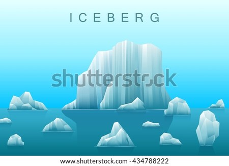 Vector background of icebergs and sea.Illustration of Arctic or antarctic landscape. - stock vector