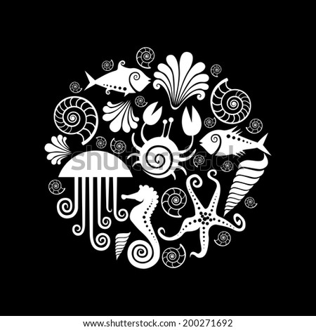 Vector background of icons sea fauna. Circle design element. Black and white illustration for print and web - stock vector