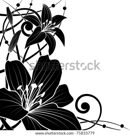 vector background of lily in black and white colors