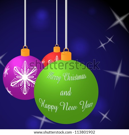 Vector background of Merry Christmas balls - stock vector