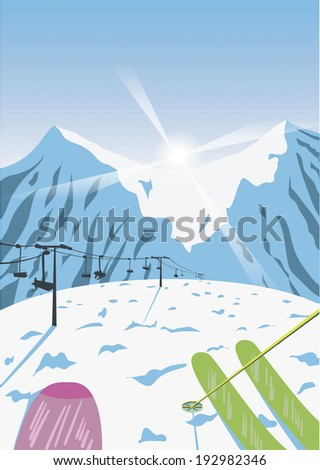 vector background of mountains