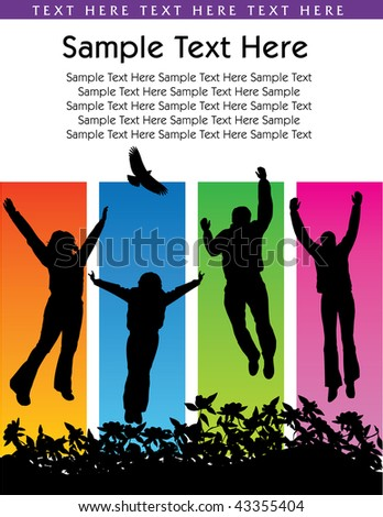 Vector background of people jumping with space for text
