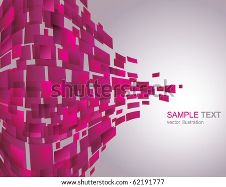 Vector Background of Pink Waving mosaic - stock vector