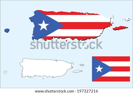 vector background of puerto rico map with flag - stock vector