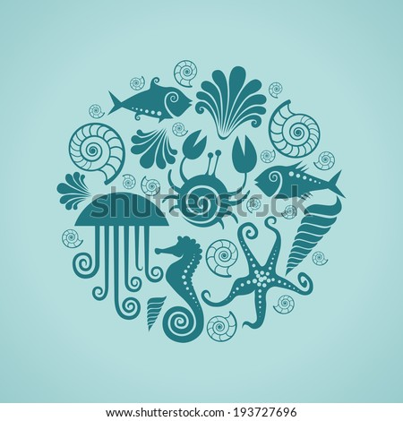 Vector background of sea fauna. Circle design element. Blue illustration for print and web - stock vector