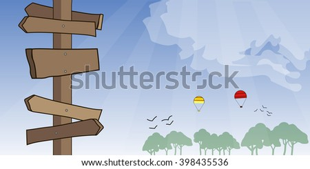 Vector background of signposts with forest on background, blue sky. Air ballons - stock vector