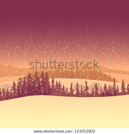 Vector background of snowy coniferous wood with valley under snowfall in red tone.