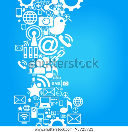 vector background of the icons social computer network - stock vector