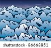 vector background of winter mountains - stock vector