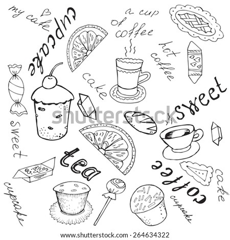 Vector  background or set of vector outline objects with a sketch confectionery products, cookware, inscriptions. Painted by hand and trace.