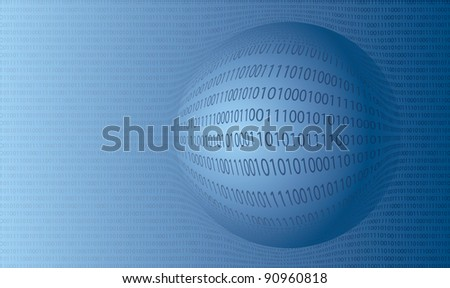 Vector background pattern of the matrix of binary numbers - stock vector