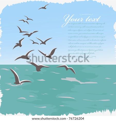 vector background sea ans seagulls - stock vector