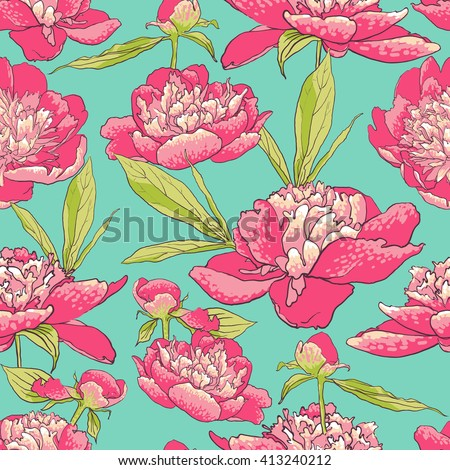 vector background Seamless floral background with peonies  - stock vector