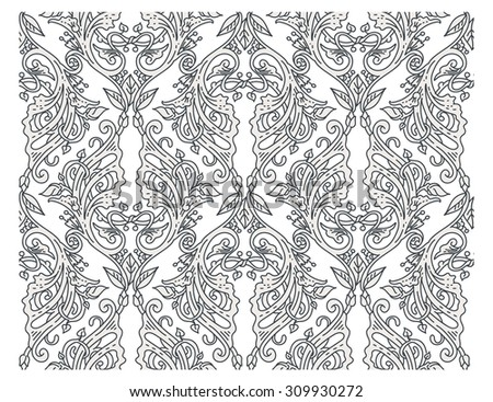 Vector background, seamless victorian ornate floral pattern with swirls in Medieval style - stock vector