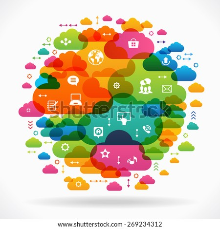 Vector background. Social media concept. Communication in the global computer networks. Set of flat design concept icons for web and mobile services. File is saved in AI10 EPS version.  - stock vector