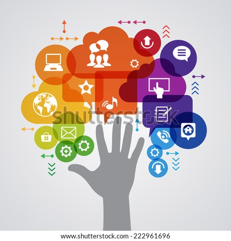 Vector background. Social media concept. Ã?Â??ommunication in the global computer networks. Set of flat design concept icons for web and mobile services. Human hand, and symbols in the form of a tree.  - stock vector