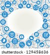 vector background speech bubble shape formed by the social media icons and words - stock photo
