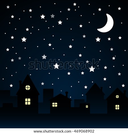 Vector background. Starry night sky. Stars, sky, night. Silhouette of the city. Moon.
