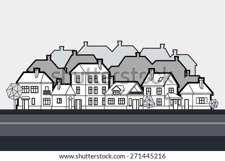 Vector background. Street Address graphic gray house with a black outline, tree. - stock vector