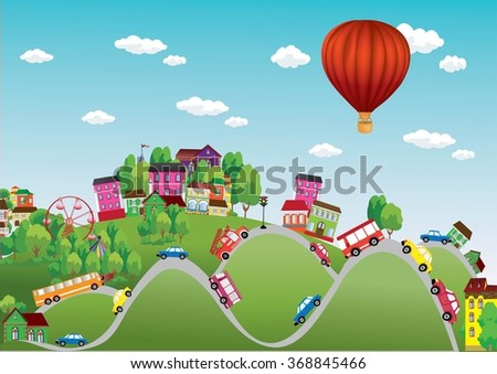 Vector background summer city with cars on the roads - stock vector