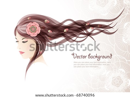 Vector background. The girl with colors in hair - stock vector