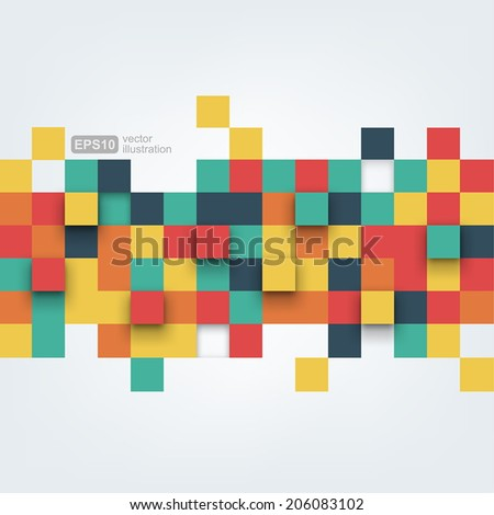 Vector background. Vector Illustration of abstract squares. Background design for poster, flyer, cover, brochure. - stock vector