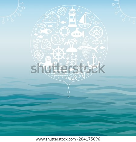 Vector background water and sea symbols - stock vector