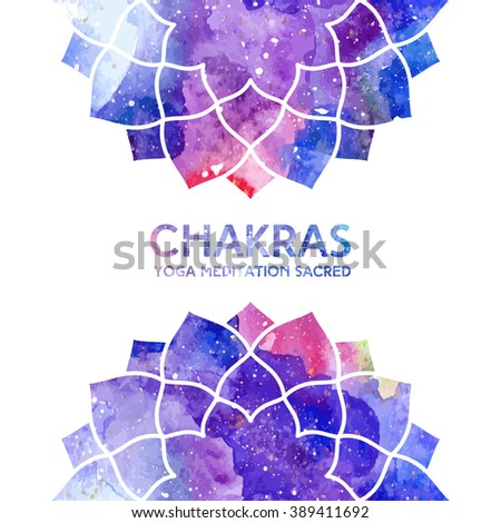 Vector background. Watercolor sahasrara chakra on white background, colorful elements, bright texture. Perfect for yoga, spa, meditation practice, ayurveda invitations, greetings - stock vector
