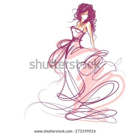 VECTOR BACKGROUND WITH A BEAUTIFUL BRIDE IN A WEDDING DRESS