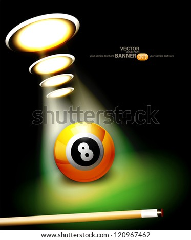 vector background with a billiard ball and cue - stock vector