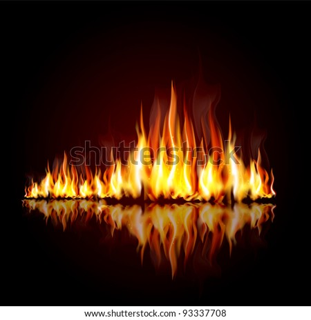 vector background with a burning flame - stock vector