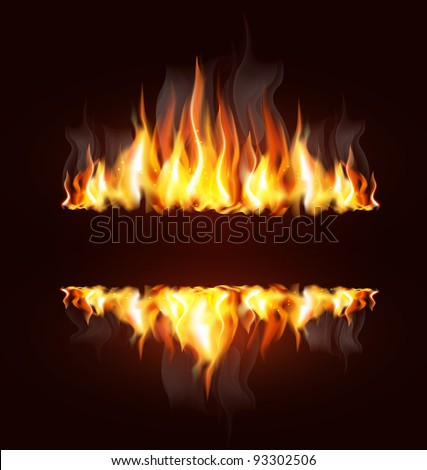vector background with a burning flame and place for text - stock vector