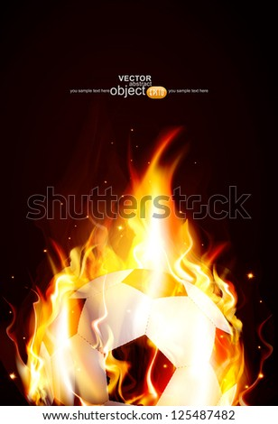 vector background with a burning soccer ball - stock vector