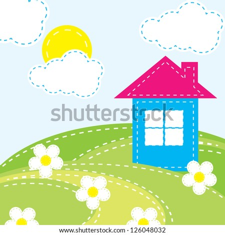 vector background with a house for the baby