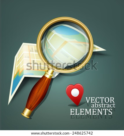vector background with a map and a magnifying glass - stock vector
