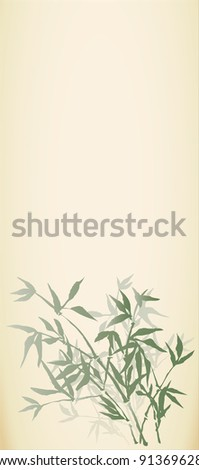 Vector background with a picture of young bamboo shoots in oriental style - stock vector