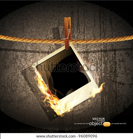 vector background with a rope hanging and burning old photo - stock vector