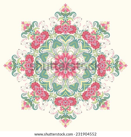 Vector background with a round ornament. Beautiful floral oriental pattern. Delicate green and pink. - stock vector