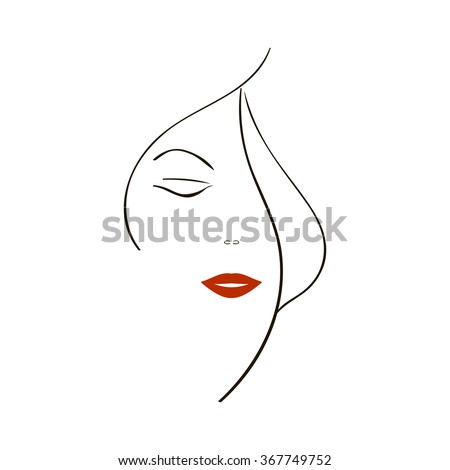 Vector background with a stylized portrait of the beautiful young girl. Fashion illustration. - stock vector