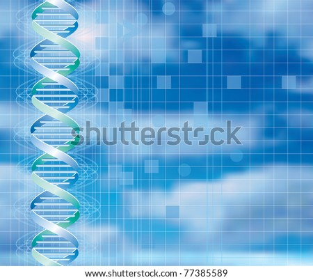 vector background with abstract DNA graph over cloudy sky - stock vector