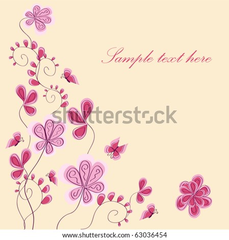 vector background with abstract pink flower - stock vector