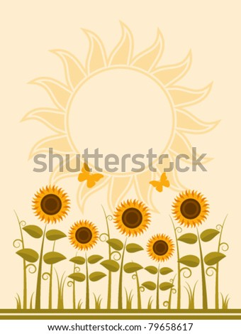 vector background with abstract sunflowers